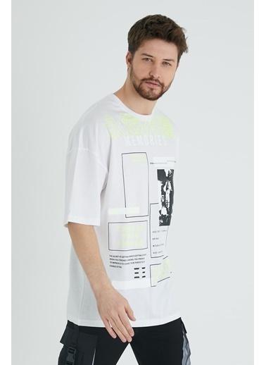 XHAN Lila Japon Karakter Baskılı Salaş T-Shirt 1Kxe1-44644-26 Beyaz